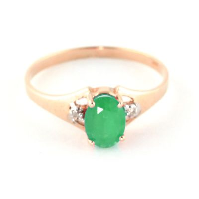 QP Jewellers Diamond & Emerald Oval Desire Ring in 14K Rose Gold - Size B