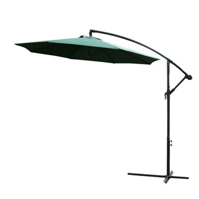 Outsunny 3m Garden Parasol Banana Umbrella Cantilever Green