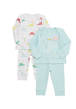 F&F 2 Pack of Sleepy Saurus Dino Pyjamas - Multi