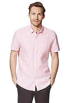 F&F Linen Blend Short Sleeve Shirt - Pink