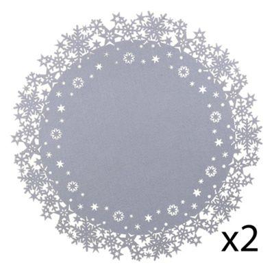 2 x Large 45cm Grey Felt Christmas Snowflake Placemats