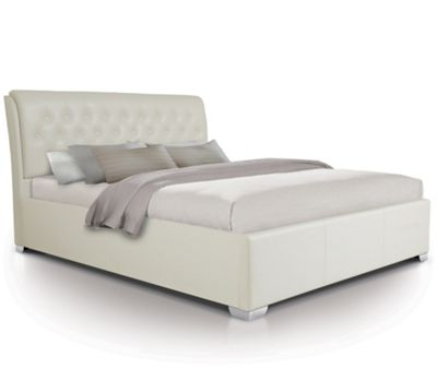 Extra Padded Buttoned Oversized Ottoman Gas Lift Storage Bed Upholstered in Faux Leather - Double - White