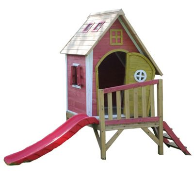 Crooked Tower Wooden Playhouse with Slide, Painted Wendy House