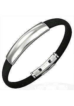 Black Rubber & Stainless Steel ID Bracelet for Men by Urban Male