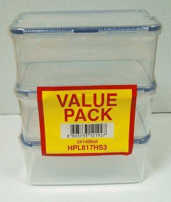 Lock & Lock Set of 3 Rectangular 1.4L Storage Containers