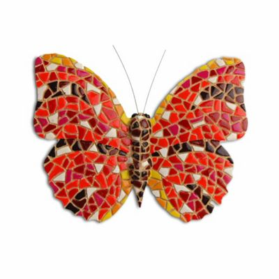 Multi Coloured Mosaic Wall Mountable Red Butterfly Garden Wall Art Ornament