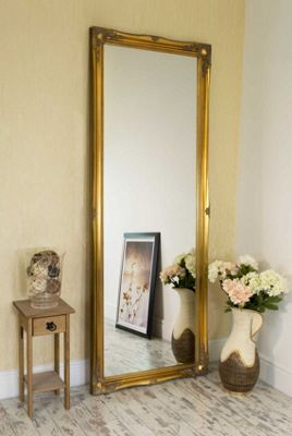 Large Gold Shabby Chic Ornate Big Wall Mirror Bargain 6Ft6 X 2Ft6 198cm X 75cm