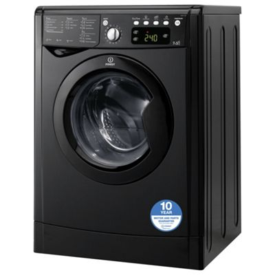 Indesit IWDE7145K Freestanding Washer Dryer, 7Kg Wash Load, B Energy Rating, Black