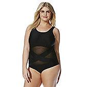 Junarose Mesh Panel Plus Size Swimsuit - Black