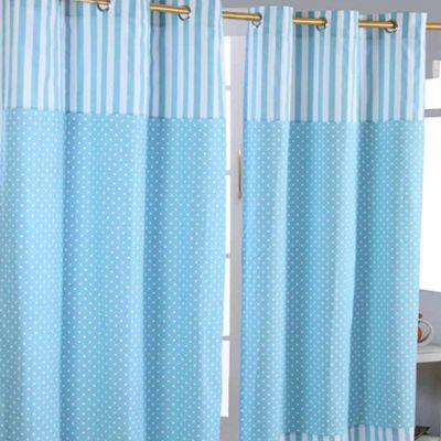Homescapes Polka Dots Blue Ready Made Eyelet Curtain Pair, 117 x 137 cm Drop
