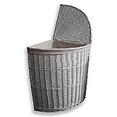 Large Willow Wicker Corner Laundry Basket with Lid in White