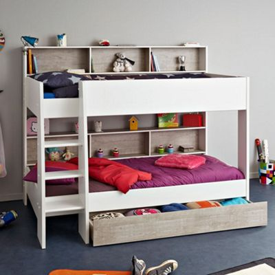 Happy Beds Tam Tam Wood Kids Bunk Bed with Underbed Storage Drawer and 2 Pocket Spring Mattresses - White and Grey - EU Single