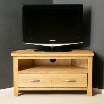 London Oak Corner TV Stand - Light Oak