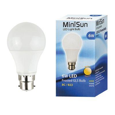 Minisun BC B22 6W LED SMD GLS Bulb in Warm White