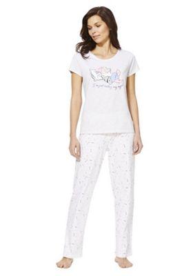 Disney Snow White and the Seven Dwarves Sleepy Motif Pyjamas Grey Marl 8-10