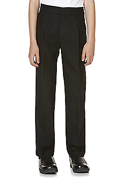 "F&F School 2 Pack of Boys Teflon EcoElite""™ Pleat Front Trousers - Black"
