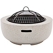 VonHaus Round MgO Fire Pit / Circular Fire Bowl With BBQ Grill For Outdoor / Garden Use