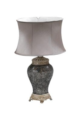 Large Silver Mosaic Design Lamp With Silver Oval Shade 2Ft6 X 1Ft6 (76Cm X45cm)