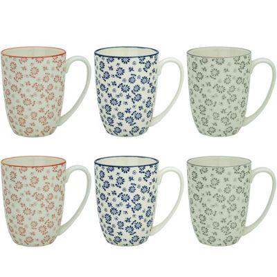 Flower Design Porcelain Tea Coffee Mug Cups 3 Designs 350ml x6