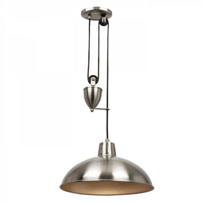 Satin Nickel Effect Plate Rise & Fall Pendant 60W