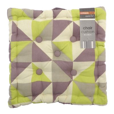 Country Club Geometric Box Chair Cushion Green & Purple, 40 x 40cm