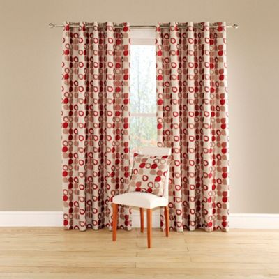 Dacota Lined Curtains with Eyelet Heading in Red - 116cm Width x 137cm Drop