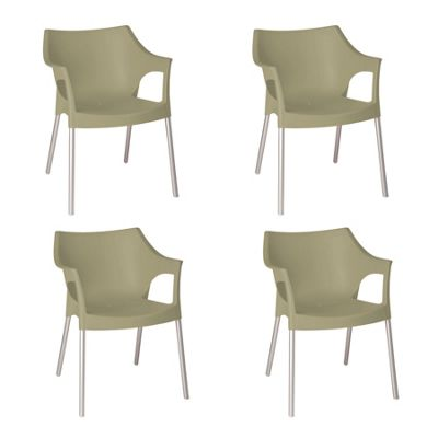 Resol Pole Designer Plastic Home Garden Dining Armchair - Sand - Pack of 4