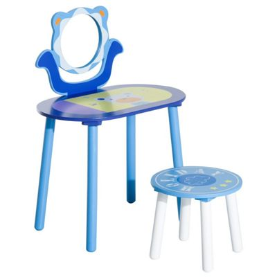 Homcom Kids Wooden Dressing Table and Stool Make Up Desk (Blue)