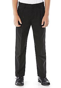 F&F School Boys Reinforced Knee Pleat Trousers - Black