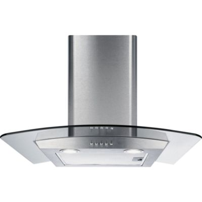 CDA ECP92SS Curved Glass 90cm Chimney Cooker Hood Stainless Steel