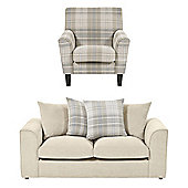 Wrayton Scatterback Accent Chair + 2.5 Seater Sofa Set, Taupe