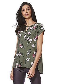 F&F Floral Front Jersey Back Top - Green
