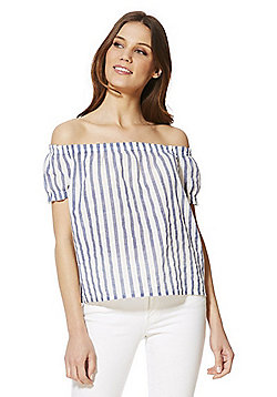 Vero Moda Striped Bardot Top with Linen - Blue & White