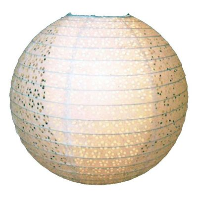 Loxton Lighting Double Skinned Lacy Design Paper Lantern in White
