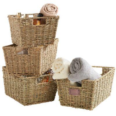 VonHaus Set of 4 Seagrass Storage Baskets with Insert Handles. Storage Baskets   Bags   Decorative Storage   Tesco