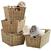 VonHaus Set of 4 Seagrass Storage Baskets with Insert Handles