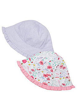 F&F 2 Pack of Floral and Plain Ruffle Trim Bucket Hats - Multi