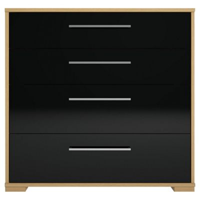 Adria Oak 4 Drawer Chest With Black Gloss Drawers