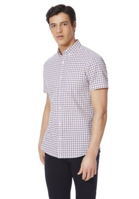 F&F Gingham Button Down Collar Short Sleeve Shirt Multi 2XL