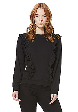 JDY Frill Trim Sweatshirt - Black