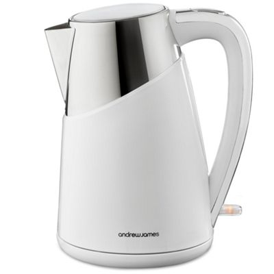 Andrew James Apollo Kettle in White & Stainless Steel - 3000W Fast Boil - 1.7L Capacity