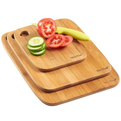 VonShef 3 Piece 100% Bamboo Wooden Chopping Board Set