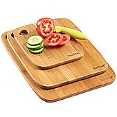 VonShef 3 Piece 100% Bamboo Wooden Chopping Board Set