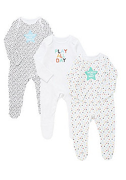 F&F 3 Pack of Slogan Sleepsuits - Multi black white