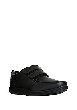 F&F Riptape Leather School Shoes - Black