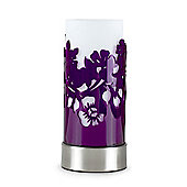 Modern Floral Silhouette Touch Table Lamp, Brushed Chrome & Purple