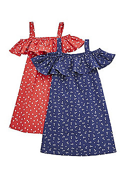 F&F 2 Pack of Anchor Print and Polka Dot Bardot Dresses - Red/Navy