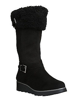 F&F Faux Fur Lined Shower Resistant Wedge Boots - Black