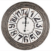 Antique Grey Metal Round Wall Clock Living Room Wall Decor