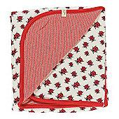 Pigeon Organics Reversible Blanket, Creatures Print (Red Ladybird)